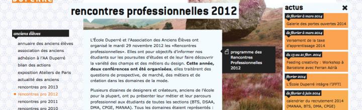 Rencontres professionnelles 2012 – Ecole Duperré
